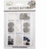 96 Units of Ideal Home Buttons 60 Count - Sewing Supplies