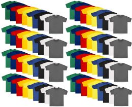 72 Units of Kids Unisex Cotton Crew Neck T-Shirts, Assorted Sizes And Colors, Bulk Wholesale - Boys Apparel