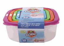 24 Units of 10 Piece Plastic Food Container Square - Food Storage Containers