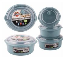 24 Units of Plastic Food Container With Vent 6 Pack Round - Food Storage Containers