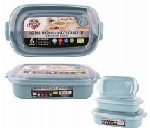12 Units of Plastic Food Container With Vent 6 Pack Rectangular - Food Storage Containers