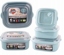 24 Units of Plastic Food Container With Vent 6 Pack Square - Food Storage Containers