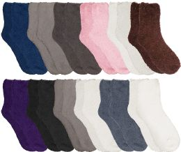 12 Units of Yacht & Smith Women Fuzzy Socks Crew Socks, Warm Butter Soft, Neutral Colors (size 9-11) - Womens Fuzzy Socks