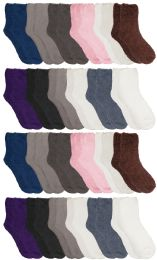 24 Units of Yacht & Smith Women's Solid Colored Fuzzy Socks Assorted Neutral Colors, Size 9-11 - Womens Fuzzy Socks