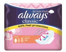 48 Units of Always Classic Normal 10 Wings Sensitive Pink - Personal Care