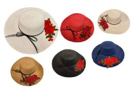 12 Units of Lady Sun Hat with Big Rose. - Sun Hats