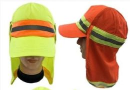 24 Units of High Reflective Cap with Removable Mesh Flap - Sun Hats