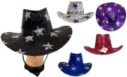 24 Units of Girl's Sequins Cowboy Hat Assorted Colors - Cowboy & Boonie Hat