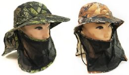 48 Units of Summer Hunting Fishing Hat Camo with Neck And Face Cover - Cowboy & Boonie Hat