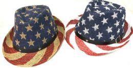 12 Units of American Flag Stars And Stripes Print Fedora Hats - Bucket Hats