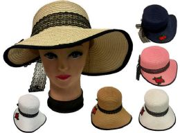 24 Units of Rose Lady's Sun Hat With Lace - Sun Hats