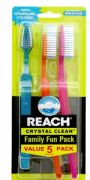 36 Units of Reach Toothbrush Crystal Clean 5 Pack Medium - Toothbrushes and Toothpaste