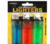 72 Units of Lighters 3 Pack Child Resistant - Lighters