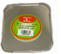 96 Units of 1 Pound Aluminum With Board Lid 3 Count - Aluminum Pans