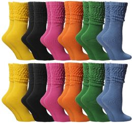 24 Units of Yacht & Smith Slouch Socks For Women, Assorted Colors Size 9-11 - Womens Scrunchie Sock - Womens Crew Sock