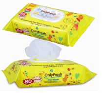 48 Units of Only Fresh Wipes 80 Count With Lid Yellow - Baby Beauty & Care Items