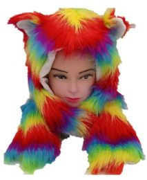 12 Units of Rainbow Fur Animal Hat With Builtin Paws Mittens - Winter Animal Hats