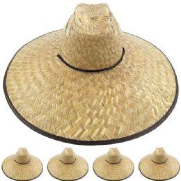 24 Units of Large Brim Bamboo Straw Pescador Man Sun Hat - Sun Hats