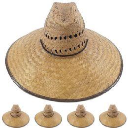 24 Units of Wide Brim Bamboo Straw Pescador Man Sun Hat - Sun Hats