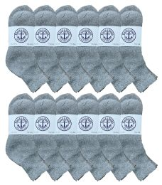 12 Units of Yacht & Smith Womens Lightweight Cotton Sport Gray Quarter Ankle Socks, Sock Size 9-11 - Womens Ankle Sock