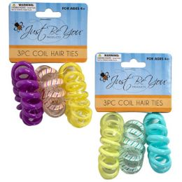 48 Units of Hair Tie 3pk Coiled Tpu Solid/stripe/transparent Perset - Hair Accessories