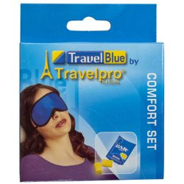120 Units of Eye Mask & Ear Plugs Set Travel Blue Boxed Peggable - Assorted Cosmetics