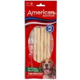 24 Units of Dog Treats Natural Beefhide 5pk 5 Inch Twist Sticks - Pet Supplies
