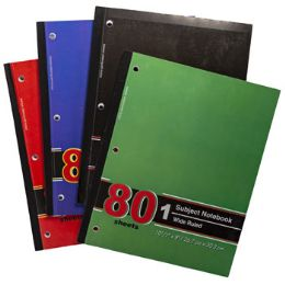 72 Units of Notebook 1 Subject Wide Ruled 80 Sheets 10-1/2 X 8 Assorted - Notebooks