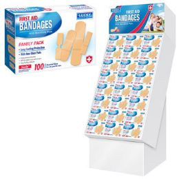 96 Units of Bandages 100ct Family Pack 96pc Floor Display - Bandages and Support Wraps