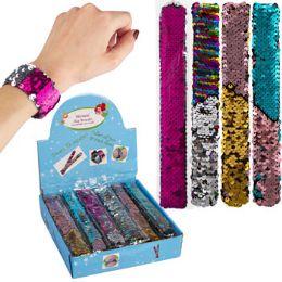 48 Units of Slap Bracelet Mermaid Reversing Sequins 4ast Color 48pc Pdq - Toys & Games