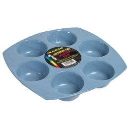 72 Units of Microwavable Muffin Pan Blue Fits 6 Muffins - Microwave Items