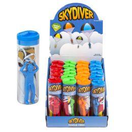 48 Units of Skydiver Parachute 4asst Colors In Acetate Tube 24pc Pdq/label - Action Figures & Robots