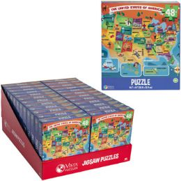 24 Units of Puzzle 48pc Usa Map Pdq Display Size 10.3x9.1 - Puzzles
