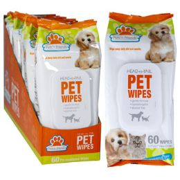 12 Units of Pet Wipes 60ct Fragrance Free W/essential Oils In 6pc Pdq - Pet Supplies