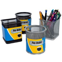 24 Units of Pencil Pen Holder Iron Mesh Round/square Black/silver Stat - Office Accessories