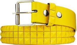 60 Units of Studded Yellow Belt - Womens Belts