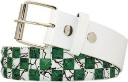 60 Units of Green Checkered Studded Belt - Womens Belts