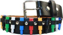 48 Units of Multicolor Punk Studded Belt - Womens Belts