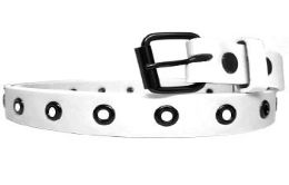 36 Units of Womens Plain White Skinny Belt - Womens Belts