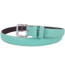 24 Units of Plain Aqua 1 Inch Width Women Belt Assorted Sizes - Womens Belts