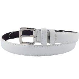 24 Units of Plain White 1 Inch Width Women Belt Assorted Sizes - Womens Belts