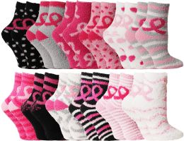 24 Units of Yacht & Smith Women's Breast Cancer Awareness Fuzzy Socks, Asst Prints Size 9-11 - Breast Cancer Awareness Socks