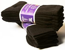 3 Units of Yacht & Smith Men's Cotton Diabetic Non-Binding Crew Socks - Size 10-13 Brown - Men's Diabetic Socks