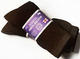 3 Units of Yacht & Smith Women's Cotton Diabetic Non-Binding Crew Socks - Size 9-11 Brown - Women's Diabetic Socks