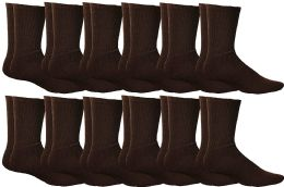 12 Units of Yacht & Smith Mens Athletic Crew Socks , Soft Cotton, Terry Cushion, Sock Size 10-13 Brown - Mens Crew Socks