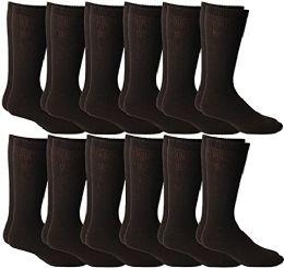 12 Units of Yacht & Smith Men's Cotton Diabetic Non-Binding Crew Socks - Size 10-13 Brown - Men's Diabetic Socks
