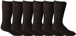 6 Units of Yacht & Smith Men's Cotton Diabetic Non-Binding Crew Socks - Size 10-13 Brown - Men's Diabetic Socks