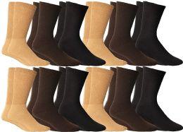12 Units of Yacht & Smith Men's Cotton Diabetic Non-Binding Crew Socks - Size 10-13 Assorted Brown - Men's Diabetic Socks