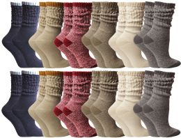 24 Units of Yacht & Smith Slouch Socks For Women, Assorted Colors Size 9-11 - Womens Crew Sock - Womens Crew Sock
