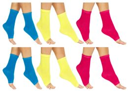 24 Units of Yacht & Smith Womens Assorted Color Open Toe Flip Flop Pedicure Socks - Womens Ankle Sock